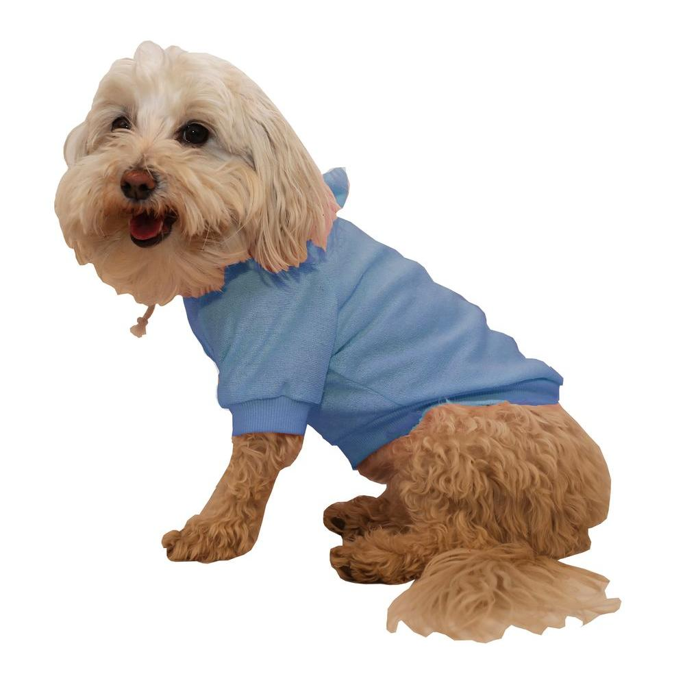 5240761f8c4b PET LIFE Small Teal Blue French Terry Pet Dog Hoodie Hooded Sweater ...