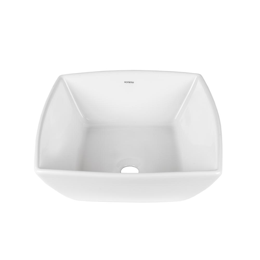 Incroyable Ronbow Essentials Square Ceramic Vessel Sink In White