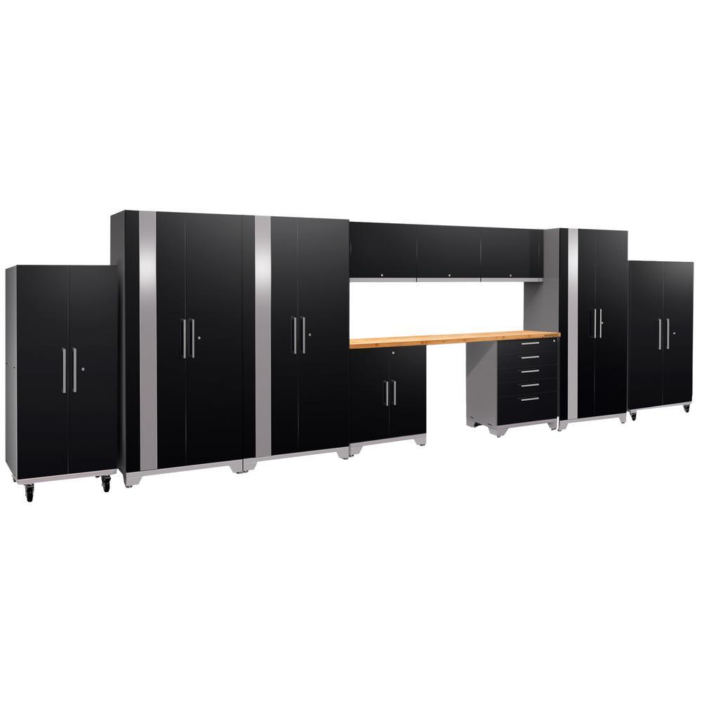 Performance Plus 2.0 80 in. H x 24 in. D8 in. W x 24 in. D Steel Garage Cabinet Set in Black (11-Piece)