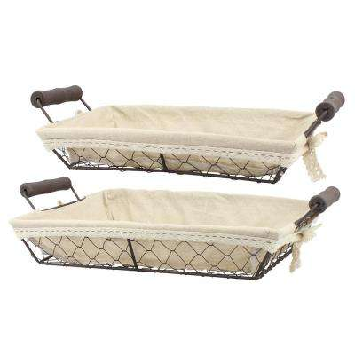 10 in. x 4 in. Rectangular Wire and Fabric Baskets (Set of 2)