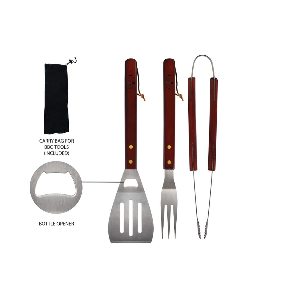 3-Piece Stainless Steel Outdoor Barbecue Tool Set (2-Pack)