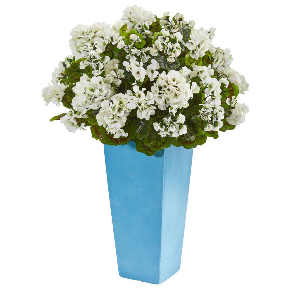 Indoor/Outdoor UV Resistant White Geranium Artificial Plant in Turquoise Planter