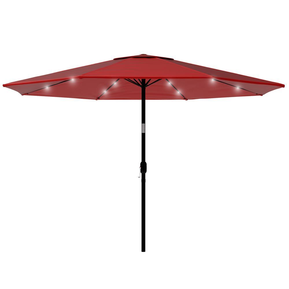 10 ft. Aluminum Market Solar Tilt LED Lighted Patio Umbrella in Red