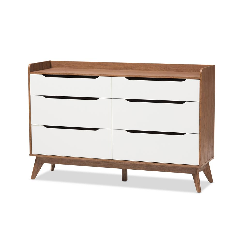 BaxtonStudio Baxton Studio Brighton 6-Drawer White Dresser, White and Brown