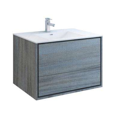 Catania 36 in. Modern Wall Hung Bath Vanity in Ocean Gray with Vanity Top in White with White Basin