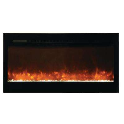 Bruiser 50 in. Recessed Electric Fireplace in Black