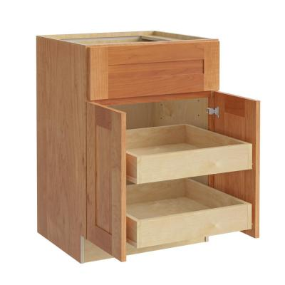 Hargrove Assembled 24x34.5x24 in. Plywood Shaker Base Kitchen Cabinet 2 rollouts Soft Close in Stained Cinnamon