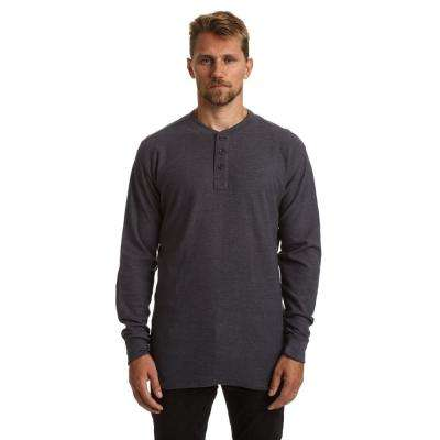 Men's Large Charcoal Heather Henley Thermal