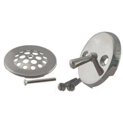 Trip Lever Overflow Faceplate with Beehive Drain Cover and Screws in Satin Nickel