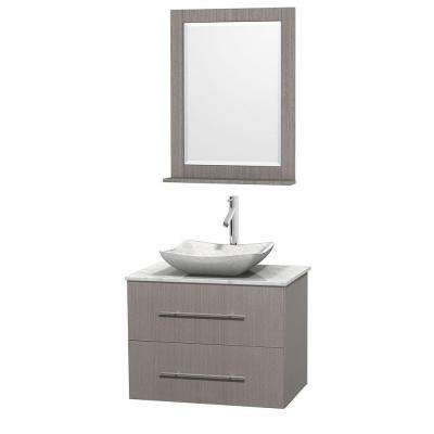 Centra 30 in. Vanity in Gray Oak with Marble Vanity Top in Carrara White, Marble Sink and 24 in. Mirror