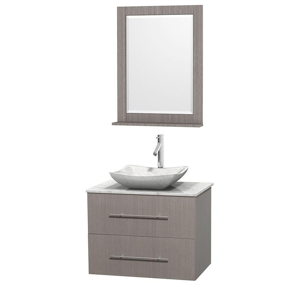 Wyndham Collection Centra 30 in. Vanity in Gray Oak with Marble Vanity Top in Carrara White, Marble Sink and 24 in. Mirror