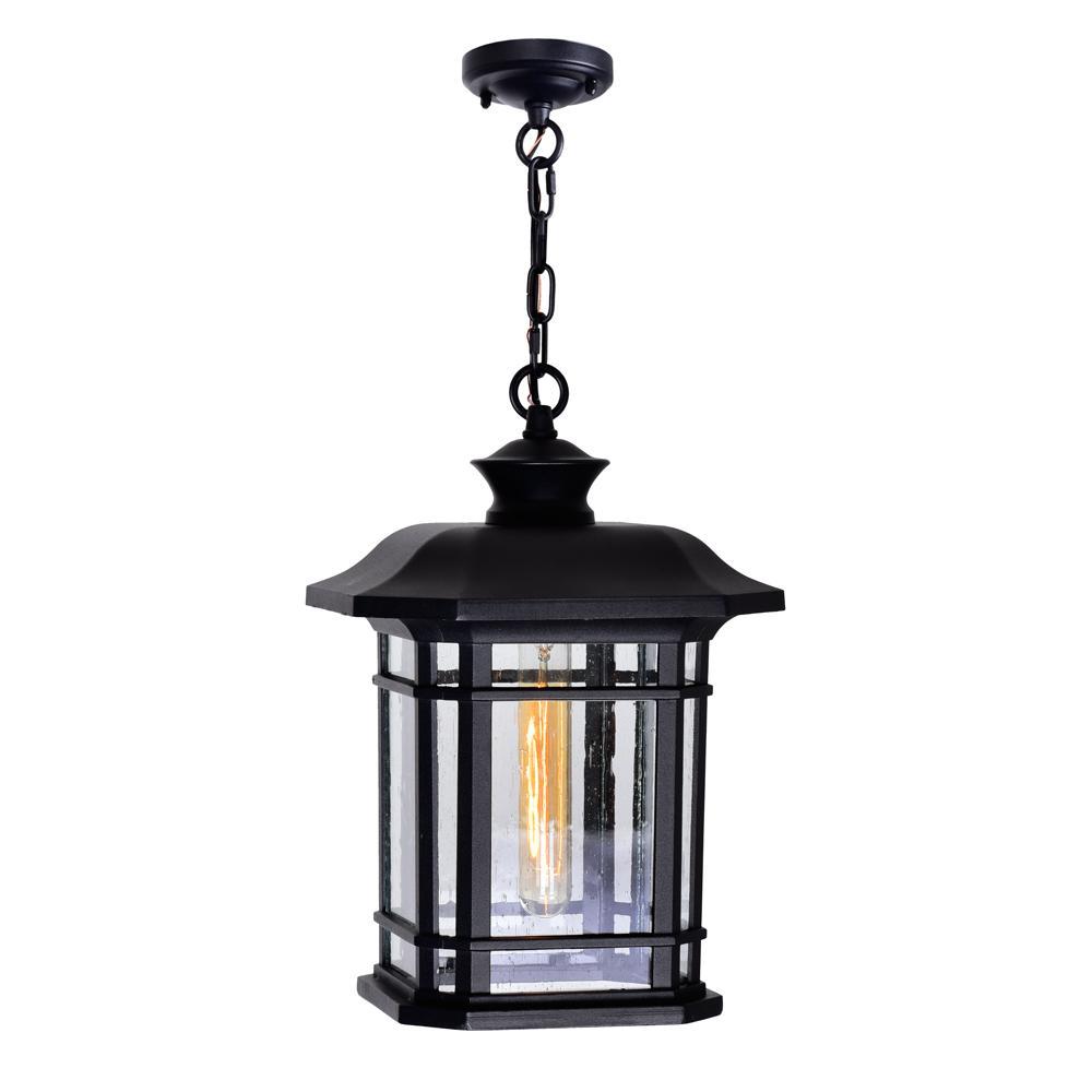 1-Light Black Outdoor Pendant Light