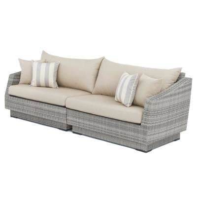 Cannes 2 Piece All Weather Wicker Patio Sofa With Slate Grey Cushions
