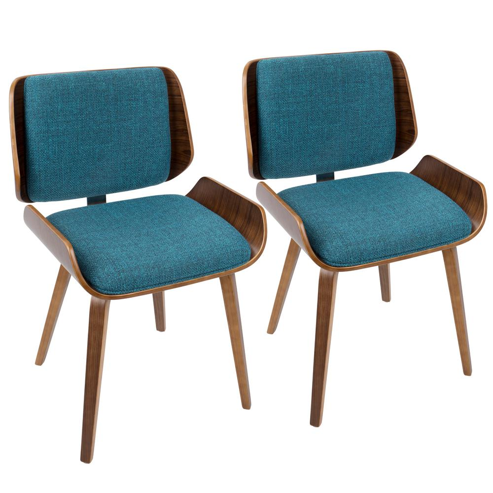 Lumisource Santi Mid Century Modern Walnut And Turquoise Dining/Accent Chair  (Set Of