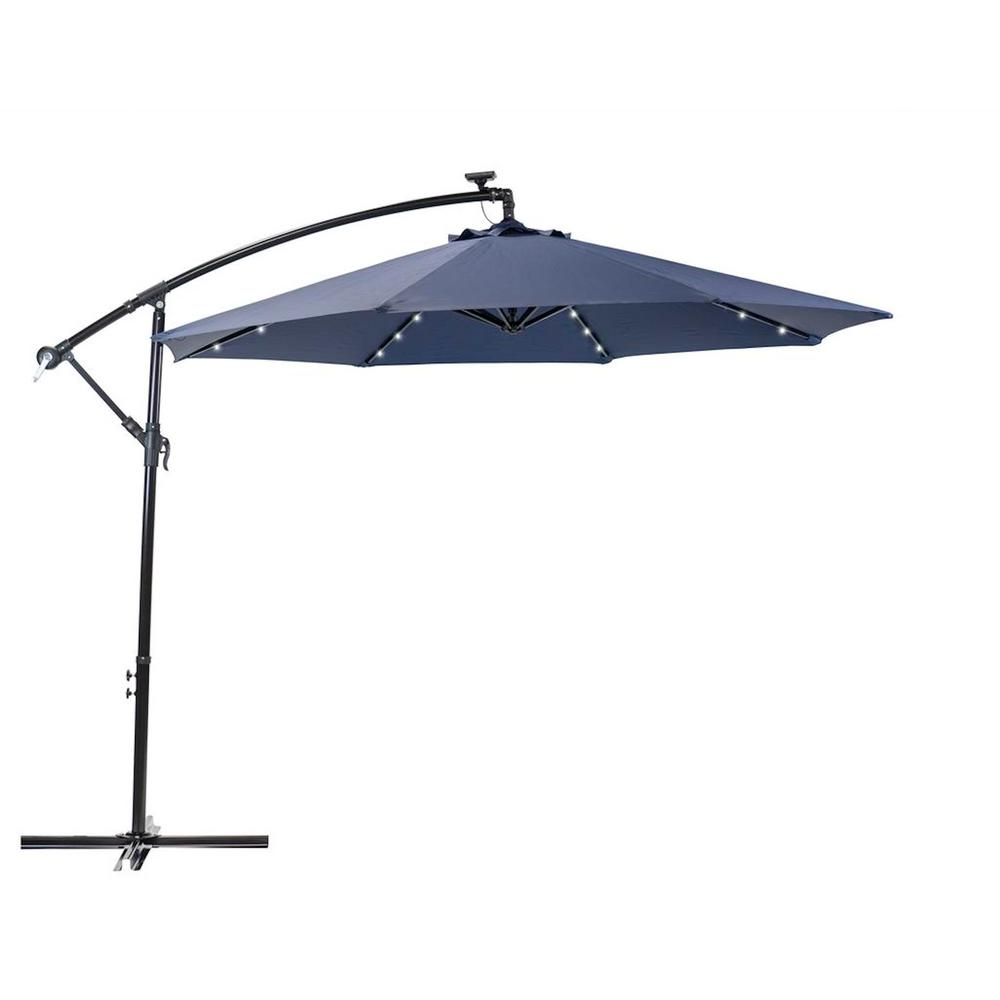 Round Cantilever Solar Ed Patio Umbrella In Navy