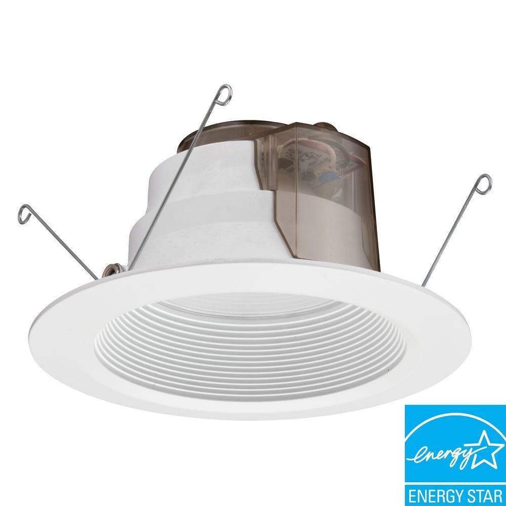 Lithonia Led Bathroom Lighting lithonia lighting 6 in. white recessed led baffle downlight-6bpmw