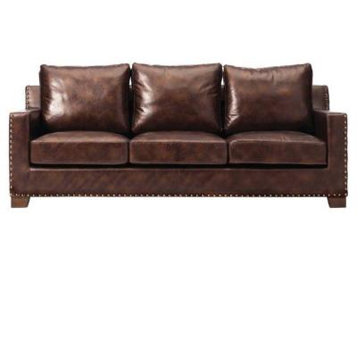 Garrison 82 in. brown Faux Leather 3-Seater Sofa with Removable Covers