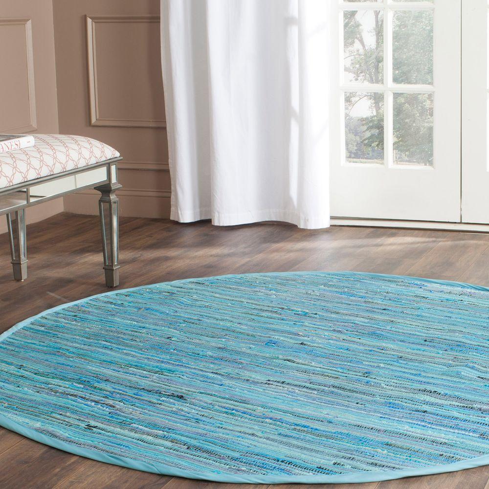 Rag Rug Blue/Multi 6 ft. x 6 ft. Round Area Rug