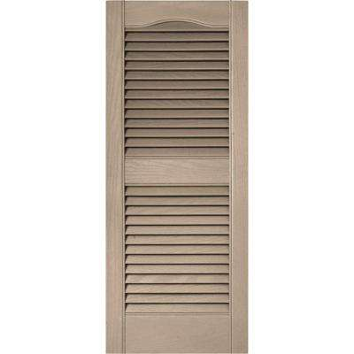 15 in. x 36 in. Louvered Vinyl Exterior Shutters Pair in #023 Wicker
