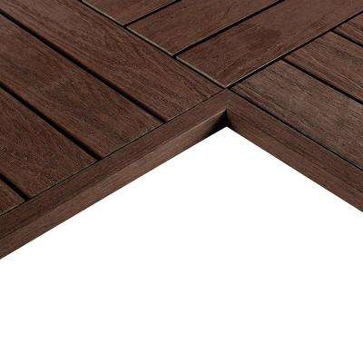 1/6 ft. x 1 ft. Quick Deck Composite Deck Tile Inside End Corner Fascia in California Redwood (2-Pieces/box)