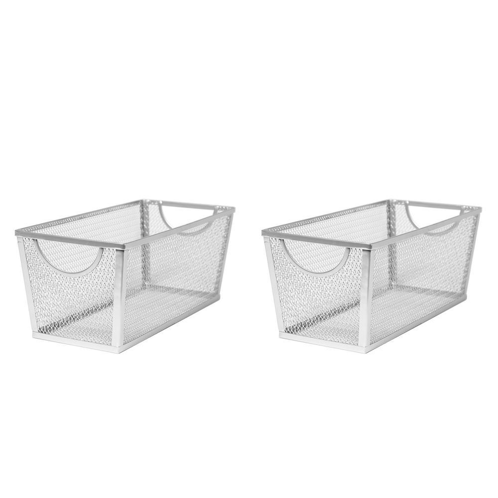 14 in. W x 5.75 in. H Silver Nesting Utility Storage Basket (2-Piece)