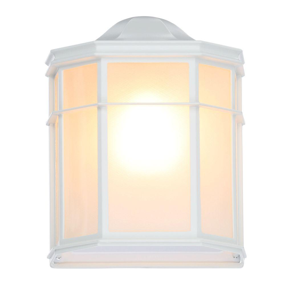 Glomar 1-Light White Outdoor Cage Wall Mount Lantern with Die Cast Linen Acrylic Lens