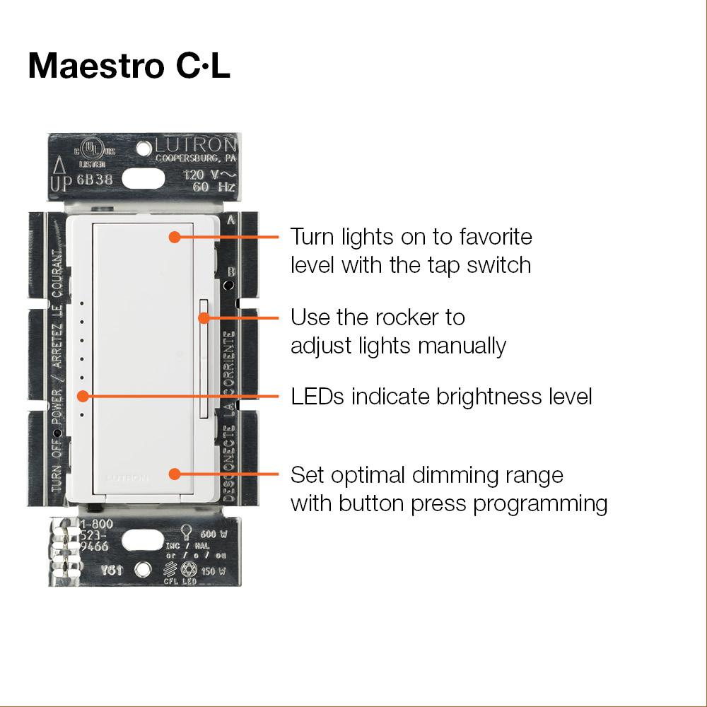 Lutron Maestro C.L Dimmer Switch for Dimmable LED, Halogen and Incandescent on