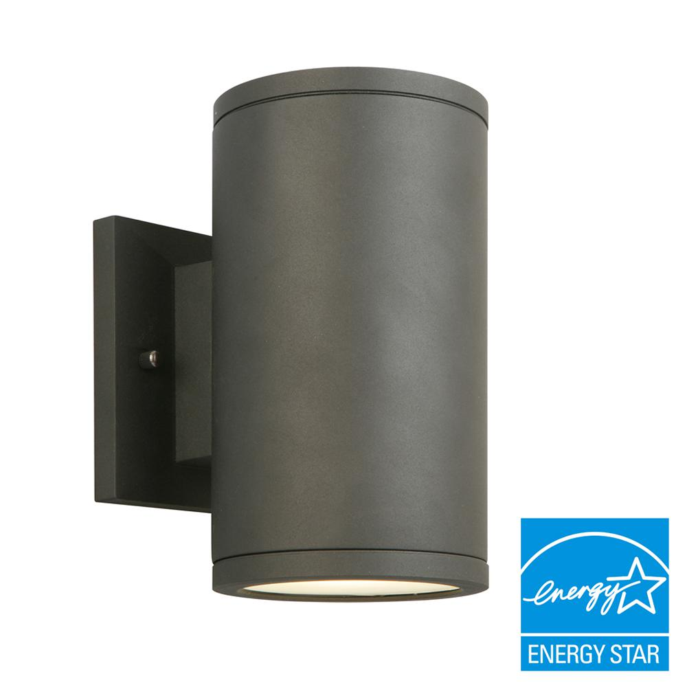 Outdoor wall mounted lighting outdoor lighting the home depot black led outdoor wall lantern with frosted glass mozeypictures Gallery