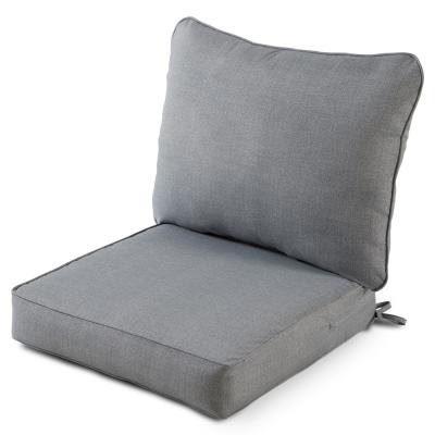 25 in. x 47 in. 2-Piece Deep Seating Outdoor Lounge Chair Cushion Set in Heather Gray