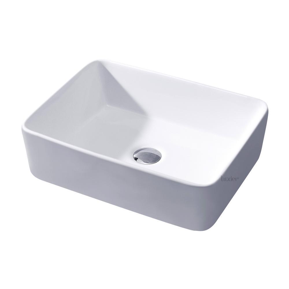 Rectangular Bathroom Ceramic Vessel Sink Art Basin in White