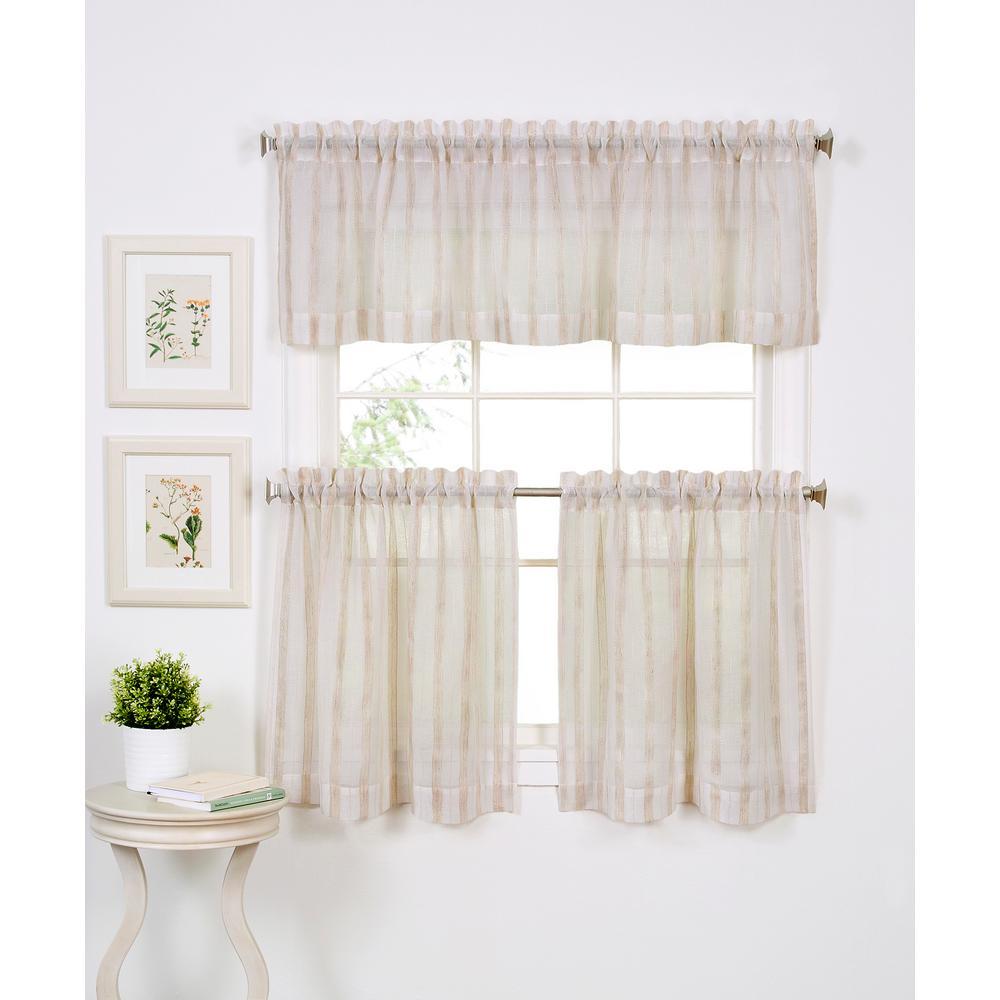 Stripe 60 in. W x 15 in. L Polyester Single Window Curtain Valance in Linen