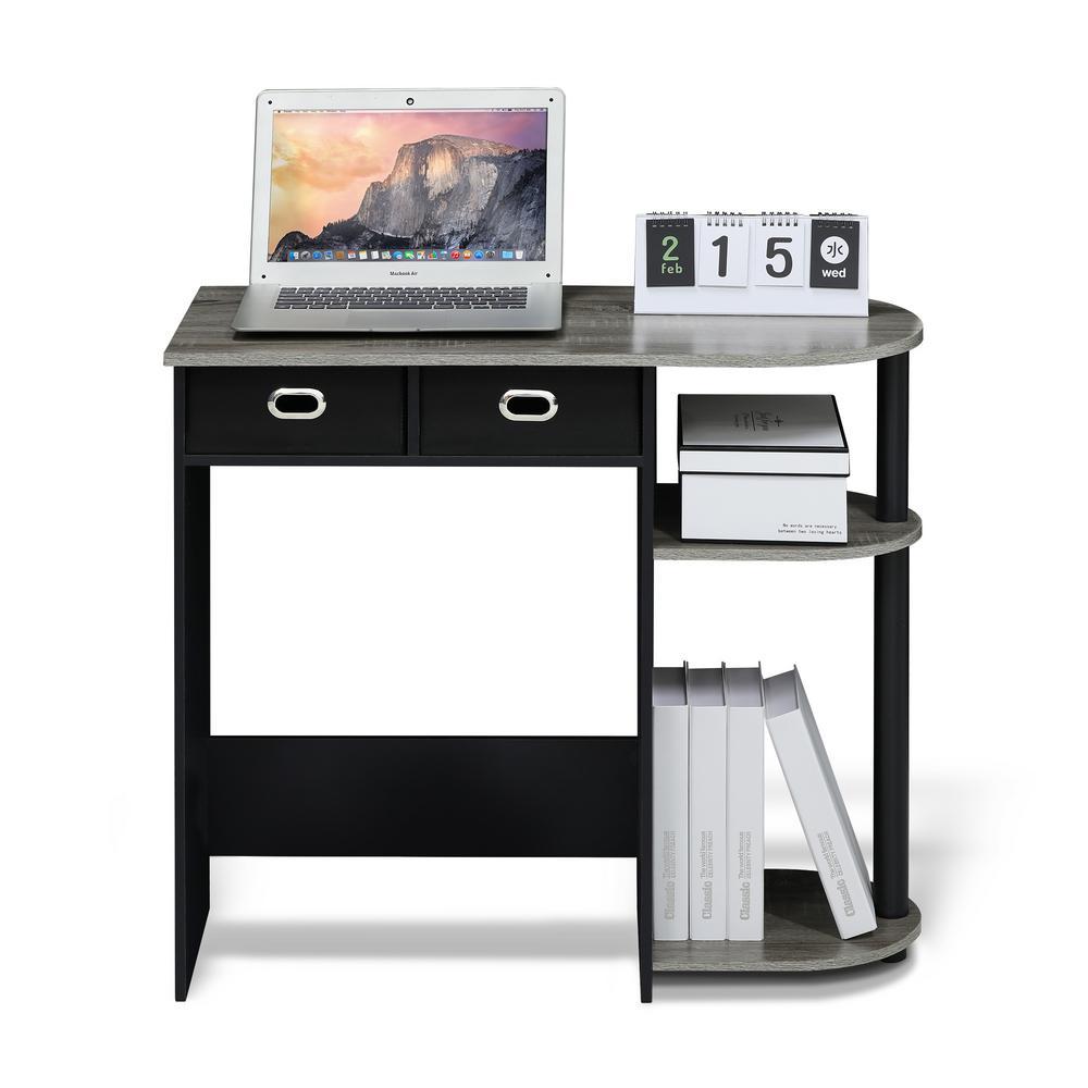 Furinno Go Green French Oak Grey Computer Desk with Bin Drawer