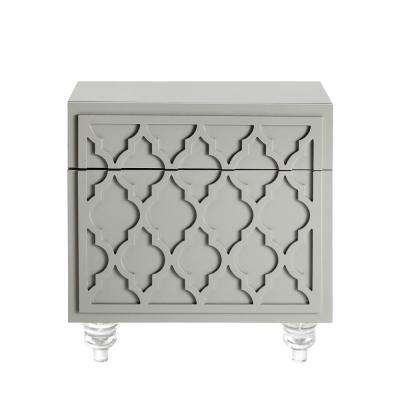 Keira Trellis Lacquered Light Grey End Table Lucite Leg Nightstand