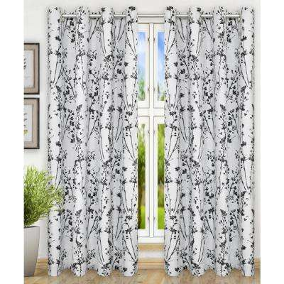 Meadow Polyester Lined Grommet Top Panel in Chrome - 50 in. W x 63 in. L