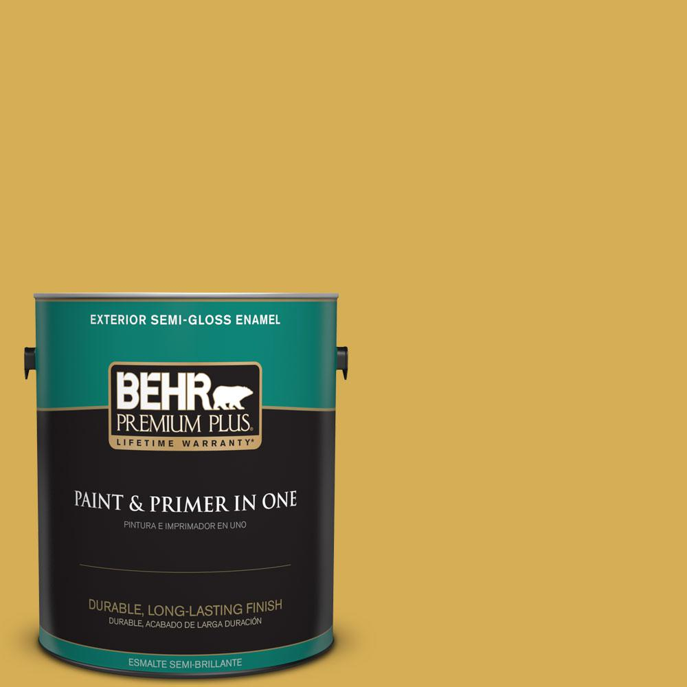 1-gal. #370D-6 Golden Cricket Semi-Gloss Enamel Exterior Paint