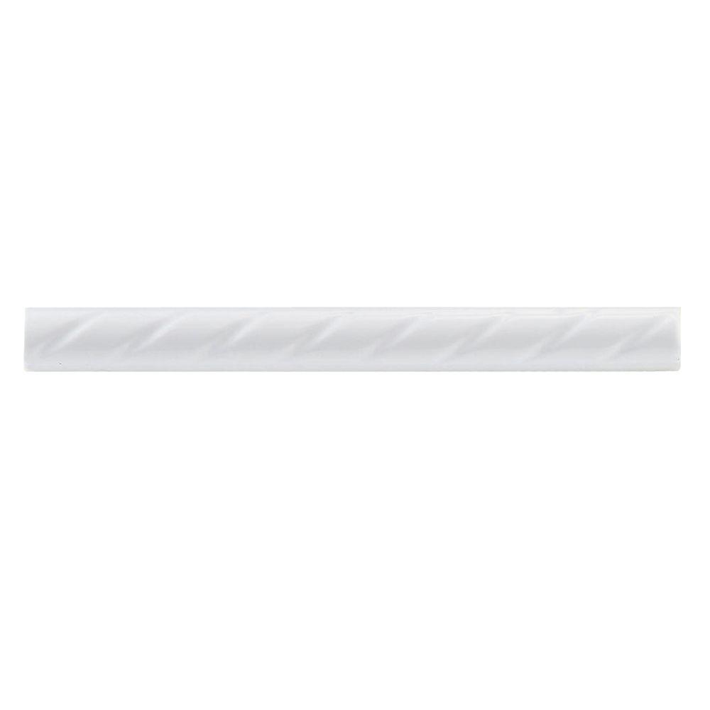 Merola Tile White Rope 1 In X 9 3 4 Ceramic Pencil Wall Trim