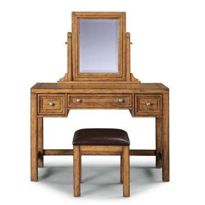 Sedona 2-Piece Toffee Brown Vanity with Mirror and Bench