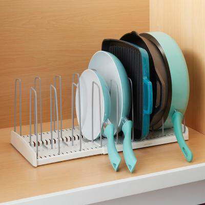 StoreMore 12 in. White Expandable Cookware Rack