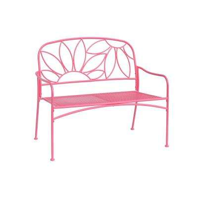 2-Seat Pink Metal Bright and Fun Outdoor Bench