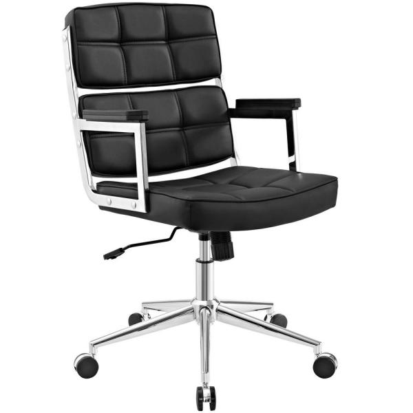 MODWAY Portray Black High-Back Upholstered Vinyl Office Chair