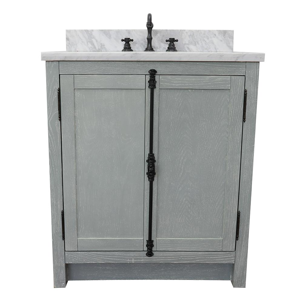 Bellaterra Home Plantation 31 in. W x 22 in. D Bath Vanity in Gray with Marble Vanity Top in White with White Oval Basin