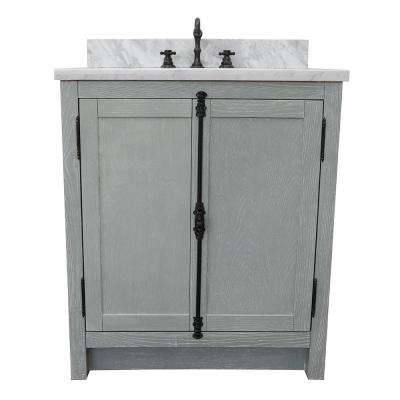Plantation 31 in. W x 22 in. D Bath Vanity in Gray with Marble Vanity Top in White with White Oval Basin