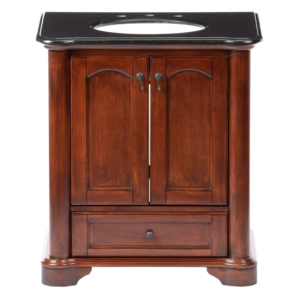 Pegasus Vermont 30 in. Birch Vanity in Mahogany with Granite Vanity Top in Black with White Basin