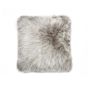 Click here to buy  Belton Gray 18 inch x 18 inch Faux Sheepskin Decorative Pillow.