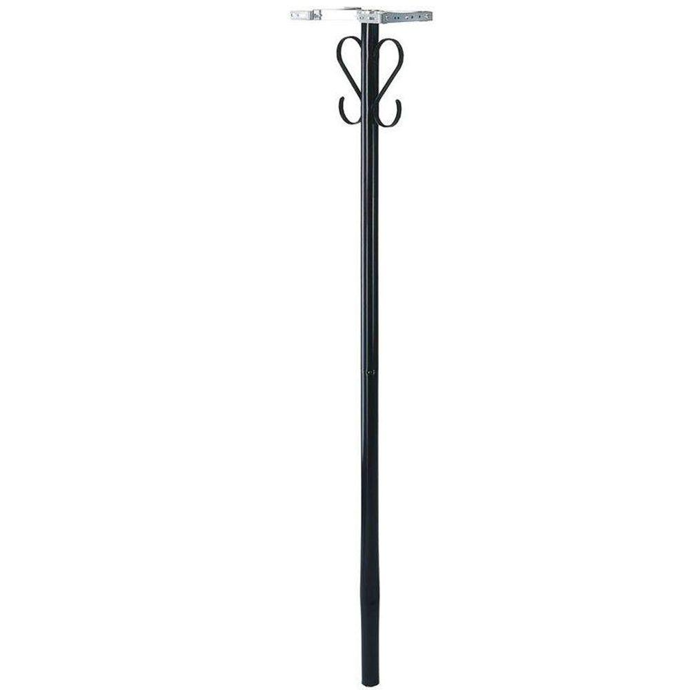 Round Steel Mailbox Post with Decorative Scroll, Black