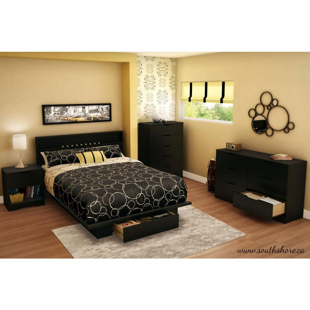 South Shore Holland 1 Drawer Full Queen Size Platform Bed in Pure Black. South Shore Holland 1 Drawer Full Queen Size Platform Bed in Pure