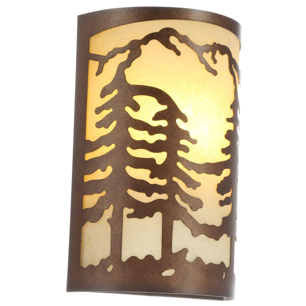 Hampton Bay Light Natural Antler Sconce With Sunset Glass Shade - Bedroom wall lamps home depot