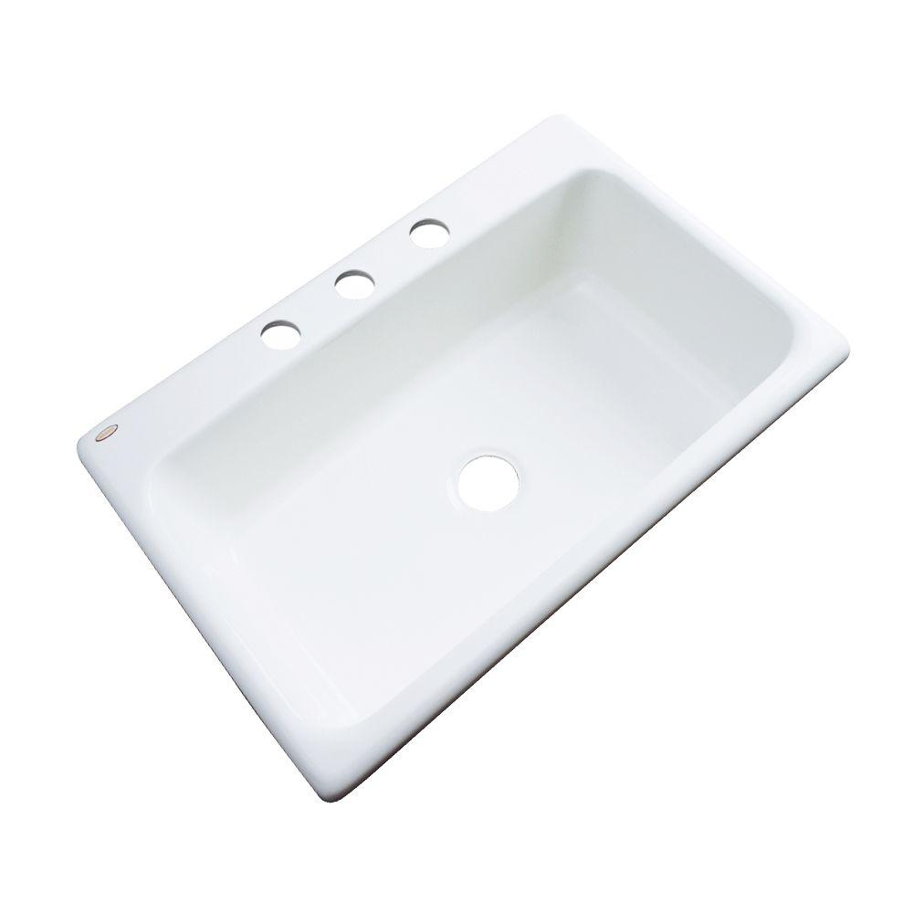 KOHLER Cape Dory Drop In Cast Iron 33 In. 4 Hole Single Bowl Kitchen Sink  In White K RH5863 4 0   The Home Depot