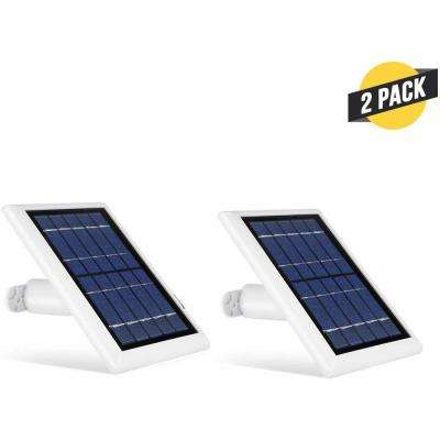 Solar Panel Compatible with Ring Spotlight Cam Battery Power Your Ring Camera Continuously (White, 2-Pack)