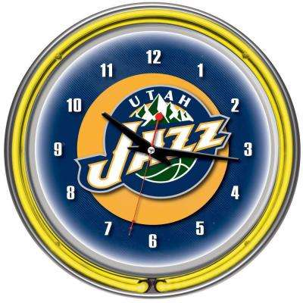 14 in. Utah Jazz NBA Chrome Double Ring Neon Wall Clock